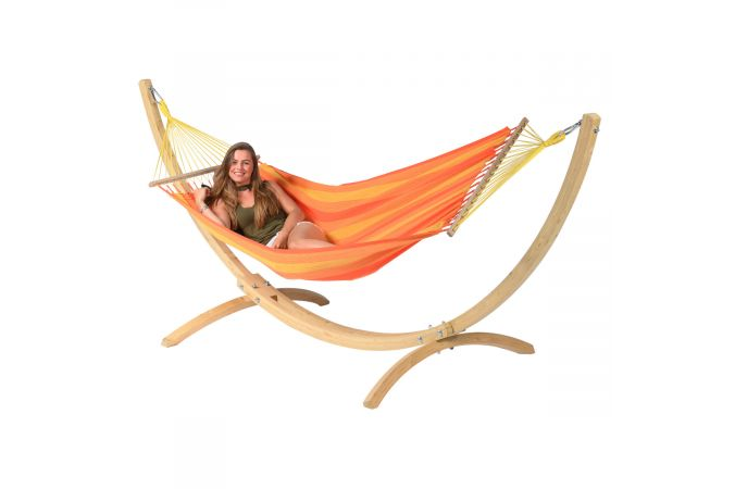 Hamac Avec Support 1 Personne 'Wood & Relax' Orange