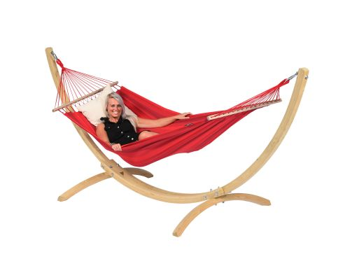 Hamac Avec Support 1 Personne 'Wood & Relax' Red